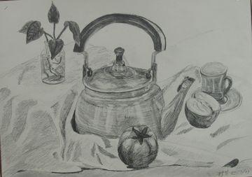 茶壶的素描结构图