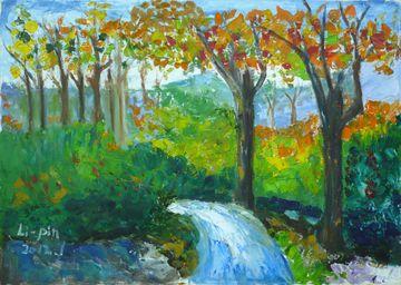 油画的作品,描绘的是秋天的风景,作者对於色彩的混