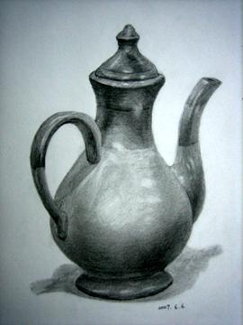 茶壶素描图片步骤