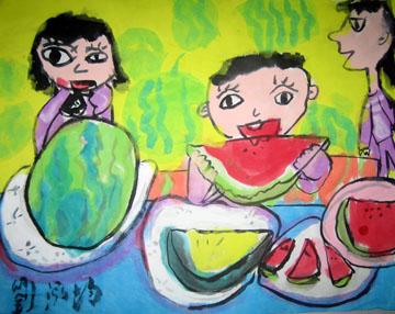 指导老师:梁文姿  作品日期:九十七年春季班  夏天吃西瓜是小朋友的图片