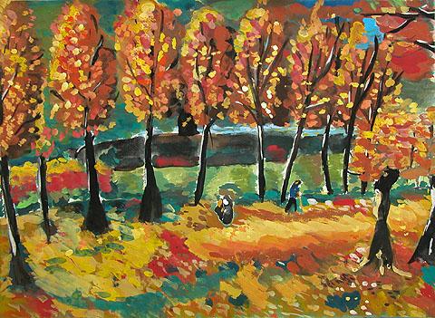 手给乡村秋天风景油画