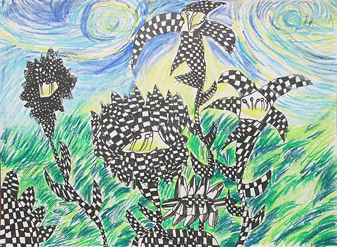美术老师画画作品花朵