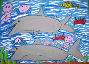 鲨鱼幼儿美术作品