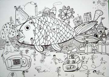 q版鱼手绘线描